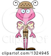 Clipart Of A Cartoon Happy Pink Butterfly Zookeeper Royalty Free Vector Illustration