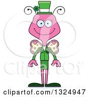 Clipart Of A Cartoon Happy Pink St Patricks Day Butterfly Royalty Free Vector Illustration