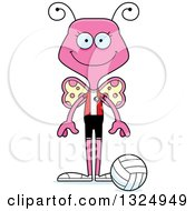 Clipart Of A Cartoon Happy Pink Butterfly Volleyball Player Royalty Free Vector Illustration