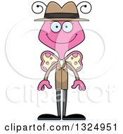 Clipart Of A Cartoon Happy Pink Butterfly Detective Royalty Free Vector Illustration