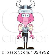 Clipart Of A Cartoon Happy Pink Butterfly Viking Royalty Free Vector Illustration