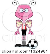 Clipart Of A Cartoon Happy Pink Butterfly Soccer Player Royalty Free Vector Illustration