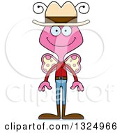 Clipart Of A Cartoon Happy Pink Butterfly Cowboy Royalty Free Vector Illustration