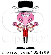 Clipart Of A Cartoon Mad Pink Butterfly Circus Ringmaster Royalty Free Vector Illustration