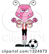 Clipart Of A Cartoon Mad Pink Butterfly Soccer Player Royalty Free Vector Illustration