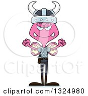 Clipart Of A Cartoon Mad Pink Butterfly Viking Royalty Free Vector Illustration
