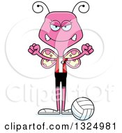 Clipart Of A Cartoon Mad Pink Butterfly Volleyball Player Royalty Free Vector Illustration