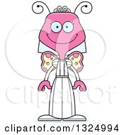 Clipart Of A Cartoon Happy Pink Butterfly Royalty Free Vector Illustration