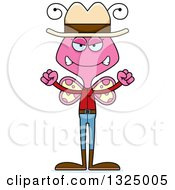 Clipart Of A Cartoon Mad Pink Butterfly Cowboy Royalty Free Vector Illustration