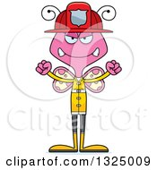 Clipart Of A Cartoon Mad Pink Butterfly Firefighter Royalty Free Vector Illustration by Cory Thoman