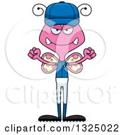 Clipart Of A Cartoon Mad Pink Butterfly Baseball Player Royalty Free Vector Illustration by Cory Thoman