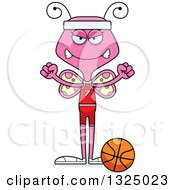 Clipart Of A Cartoon Mad Pink Butterfly Basketball Player Royalty Free Vector Illustration by Cory Thoman