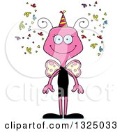 Clipart Of A Cartoon Happy Pink New Years Party Butterfly Royalty Free Vector Illustration by Cory Thoman