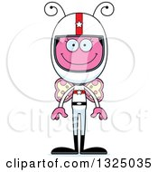 Clipart Of A Cartoon Happy Pink Butterfly Race Car Driver Royalty Free Vector Illustration by Cory Thoman