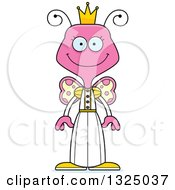 Clipart Of A Cartoon Happy Pink Butterfly Princess Royalty Free Vector Illustration by Cory Thoman