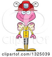 Clipart Of A Cartoon Happy Pink Butterfly Firefighter Royalty Free Vector Illustration