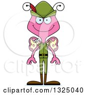 Clipart Of A Cartoon Happy Pink Butterfly Robin Hood Royalty Free Vector Illustration by Cory Thoman