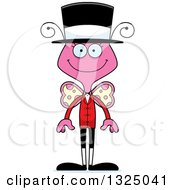 Clipart Of A Cartoon Happy Pink Butterfly Circus Ringmaster Royalty Free Vector Illustration by Cory Thoman