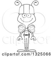 Cartoon Black And White Happy Butterfly Construction Worker