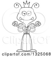 Lineart Clipart Of A Cartoon Black And White Mad Butterfly Princess Royalty Free Outline Vector Illustration by Cory Thoman