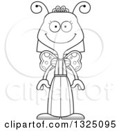 Lineart Clipart Of A Cartoon Black And White Happy Butterfly Royalty Free Outline Vector Illustration