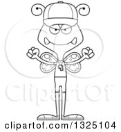Lineart Clipart Of A Cartoon Black And White Mad Butterfly Sports Coach Royalty Free Outline Vector Illustration