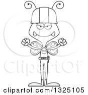 Cartoon Black And White Mad Butterfly Construction Worker