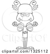 Lineart Clipart Of A Cartoon Black And White Mad Butterfly Hermes Royalty Free Outline Vector Illustration