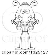 Lineart Clipart Of A Cartoon Black And White Mad Butterfly Royalty Free Outline Vector Illustration