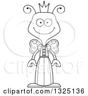 Lineart Clipart Of A Cartoon Black And White Happy Butterfly Princess Royalty Free Outline Vector Illustration by Cory Thoman