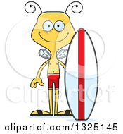 Clipart Of A Cartoon Happy Bee Surfer Royalty Free Vector Illustration