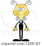 Clipart Of A Cartoon Happy Bee Wedding Groom Royalty Free Vector Illustration