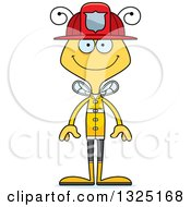 Clipart Of A Cartoon Happy Bee Firefighter Royalty Free Vector Illustration