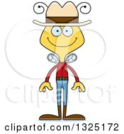 Clipart Of A Cartoon Happy Bee Cowboy Royalty Free Vector Illustration