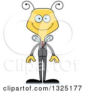 Clipart Of A Cartoon Happy Business Bee Royalty Free Vector Illustration