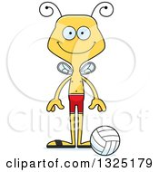 Clipart Of A Cartoon Happy Bee Beach Volleyball Player Royalty Free Vector Illustration