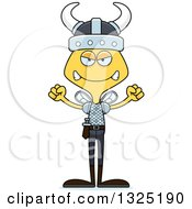 Clipart Of A Cartoon Mad Bee Viking Royalty Free Vector Illustration