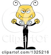 Clipart Of A Cartoon Mad Bee Wedding Groom Royalty Free Vector Illustration