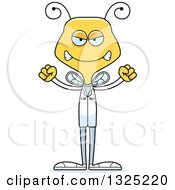 Clipart Of A Cartoon Mad Bee Doctor Royalty Free Vector Illustration