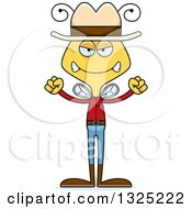 Clipart Of A Cartoon Mad Bee Cowboy Royalty Free Vector Illustration