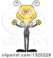Clipart Of A Cartoon Mad Business Bee Royalty Free Vector Illustration