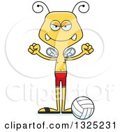 Clipart Of A Cartoon Mad Bee Beach Volleyball Player Royalty Free Vector Illustration