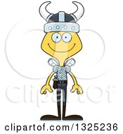 Clipart Of A Cartoon Happy Bee Viking Royalty Free Vector Illustration by Cory Thoman