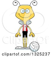 Clipart Of A Cartoon Happy Bee Volleyball Player Royalty Free Vector Illustration by Cory Thoman