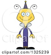 Clipart Of A Cartoon Happy Bee Wizard Royalty Free Vector Illustration by Cory Thoman