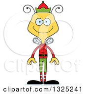 Clipart Of A Cartoon Happy Bee Christmas Elf Royalty Free Vector Illustration by Cory Thoman
