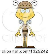 Clipart Of A Cartoon Happy Bee Zookeeper Royalty Free Vector Illustration by Cory Thoman