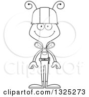 Cartoon Black And White Happy Bee Construction Worker