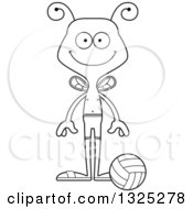 Lineart Clipart Of A Cartoon Black And White Happy Bee Beach Volleyball Player Royalty Free Outline Vector Illustration