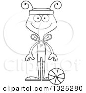 Lineart Clipart Of A Cartoon Black And White Happy Bee Basketball Player Royalty Free Outline Vector Illustration